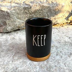 Rae Dunn KEEP Ceramic Black and Wood Bath Acc…
